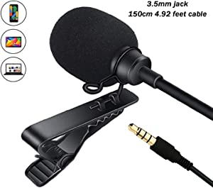 3.5mm Jack Lavalier Microphone for Android iPhone Laptop Tablet, Lapel Mic Omnidirectional Condenser Mic for Facebook Vlog YouTube Interview Studio TilTok Live Video Recording Noise Canceling