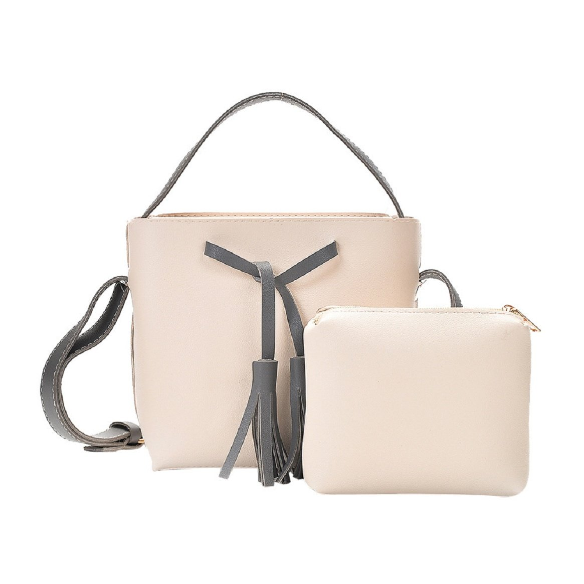 Women PU Leather Purses and Handbags Pack of 2 by Coerni (Beige)