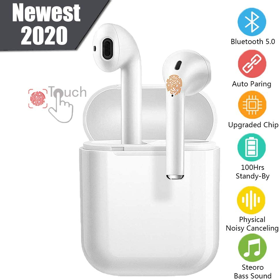 Wireless Earbuds Bluetooth 5.0 Headphones 2020 Latest Intelligent Noise Reduction Fast Charging Pop-ups Auto Pairing Built-in Mic for iPhone/Android/Samsung/Running in-Ear Headphones (White-2020)