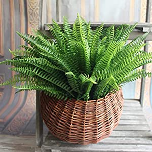MingXiao Green Fake Plants Floral Decor Artificial Persian Leaves Grass Flower Garden 55