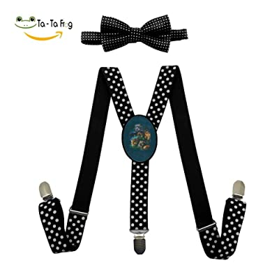 Big Jungle Cats Y-Back Suspenders And Pre-Tied Bowtie Set For children Casual And Formal