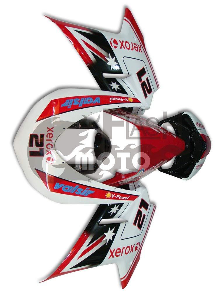 FlashMoto ducati デュカティ 1098 848 2007 2008 2009 2010 2011 2012 1198用フェアリング 塗装済 オートバイ用射出成型ABS樹脂ボディワークのフェアリングキットセット ホワイト, レッド   B07L89GH77