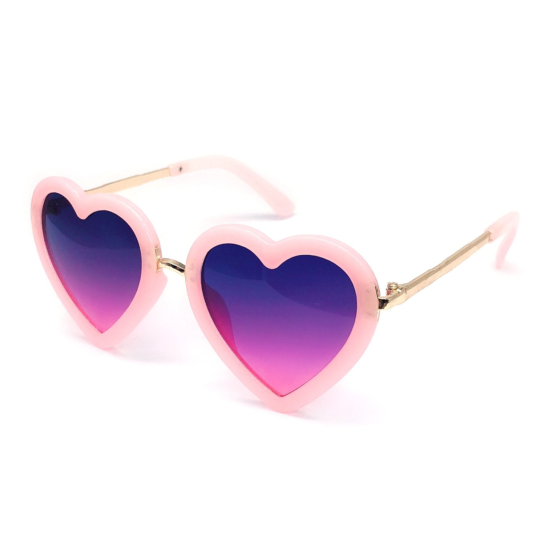 Elesa Miracle Age 3-12 Girl Kids Heart Shaped Polarized Sunglasses UV Protection (Light Pink)