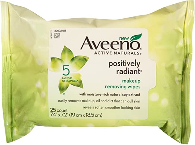AVEENO Active Naturals Positively Radiant Makeup Removing Wipes, 25 ea (5 Pack)