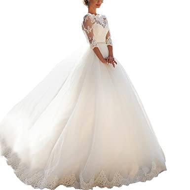Fair Lady Women\'s Half Sleeves Wedding Dresses for Bride Lace Ball ...