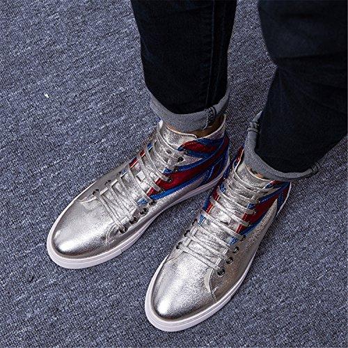 Rainstar Mens Alta Moda Sneaker Allacciatura Brillante Superficie Sport Scarpa Sportiva Argento