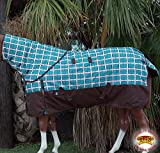 80'' HILASON 1200D WATERPROOF TURNOUT HORSE WINTER BLANKET NECK COVER TURQUOISE PLAID WITH BROWN