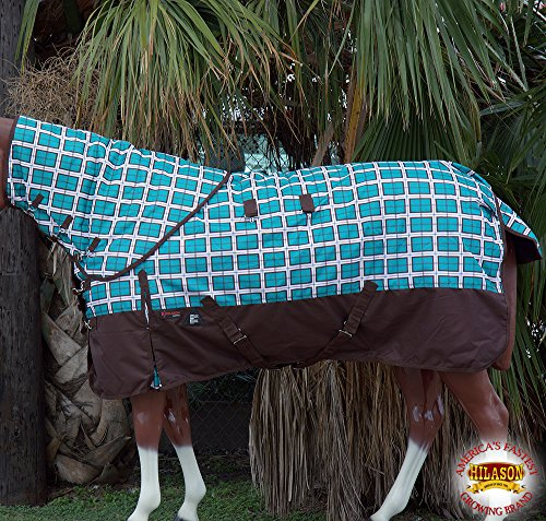 80'' HILASON 1200D WATERPROOF TURNOUT HORSE WINTER BLANKET NECK COVER TURQUOISE PLAID WITH BROWN by HILASON