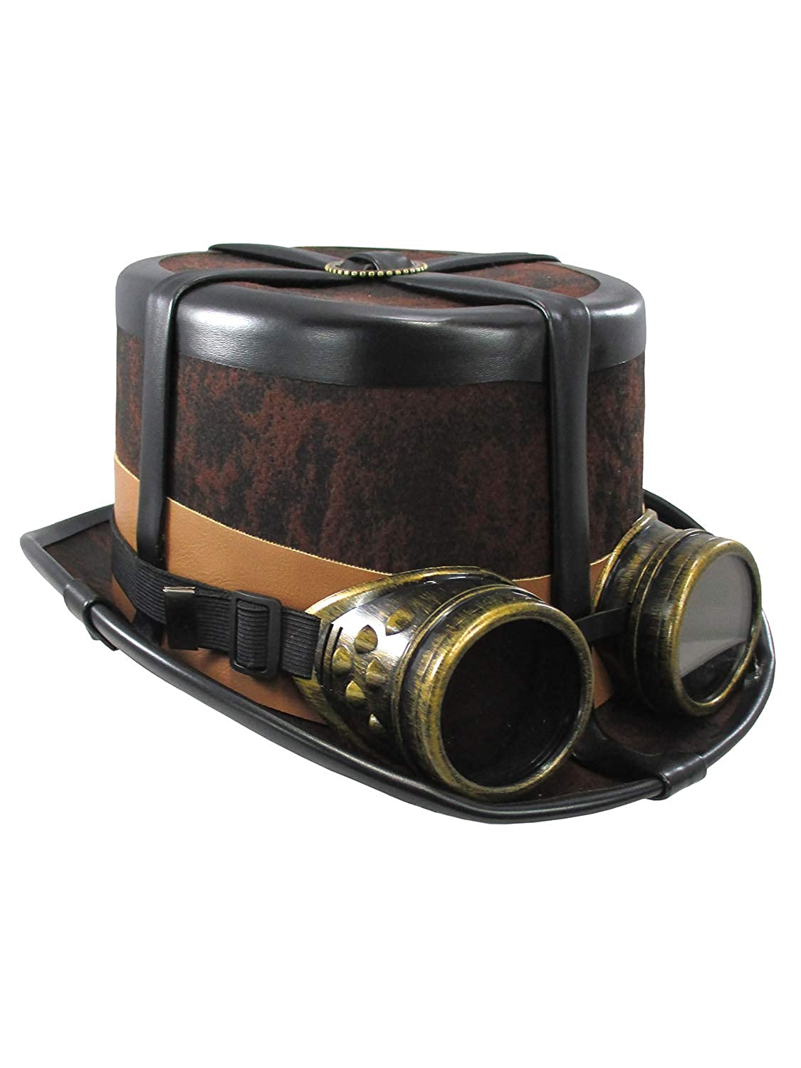 Steampunk Costume Essentials for Women Caufields Brown Steampunk Hat with Black StrapsOne Size $24.99 AT vintagedancer.com