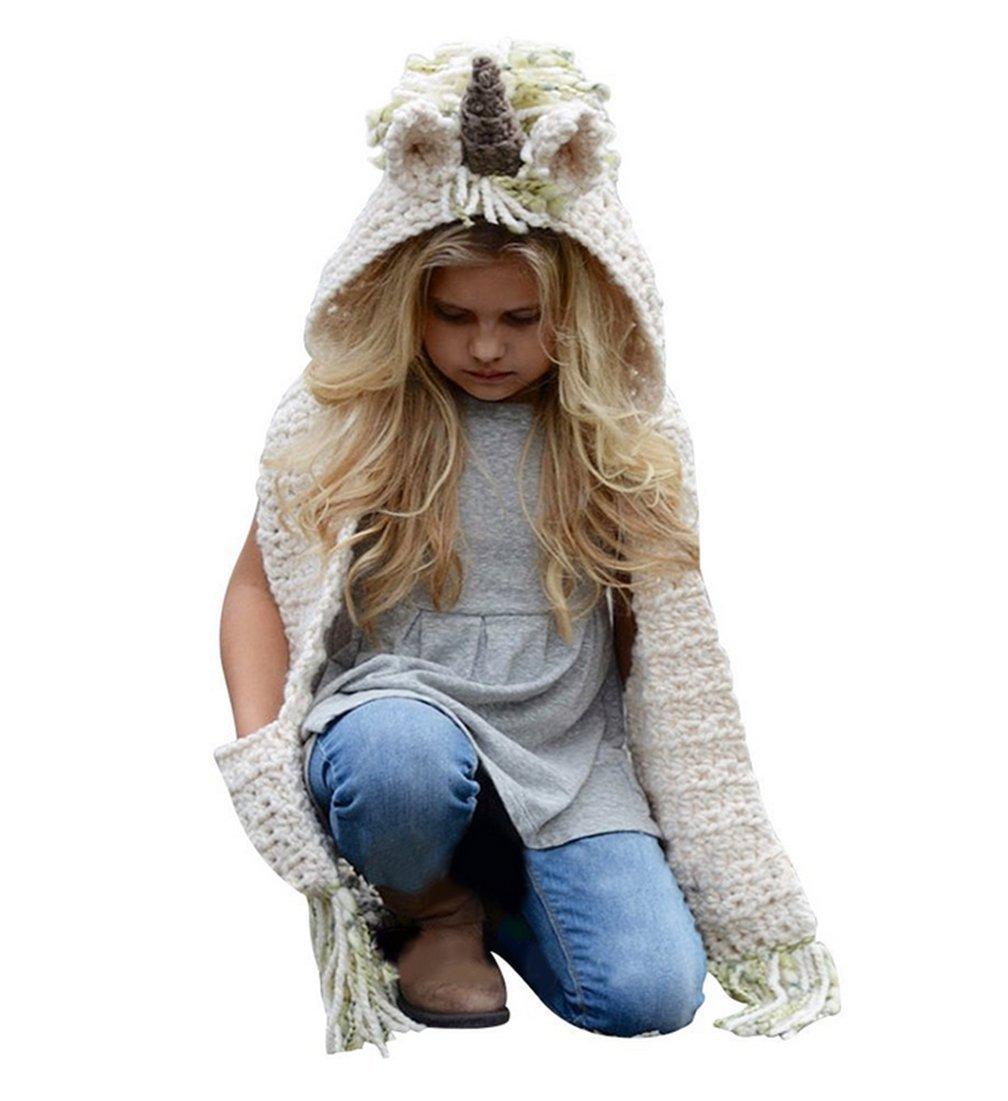 koobea Bonnet Chaud Chapeau Cagoule Renard Bebe Enfant Echarpe Hiver Automne  en Laine Tricote BonnetE03-Grey fr 6a7434f29b3
