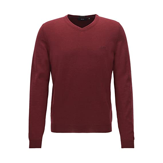 b54a341e143 Hugo Boss Baram-L Fine Knit V Neck Jumper Black 001 50373737  Amazon ...