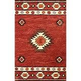 nuLOOM 200SPVE04C-76096 Hand-Tufted Southwestern Wool Wine Rug (7-Feet 6 X 9-Feet 6)
