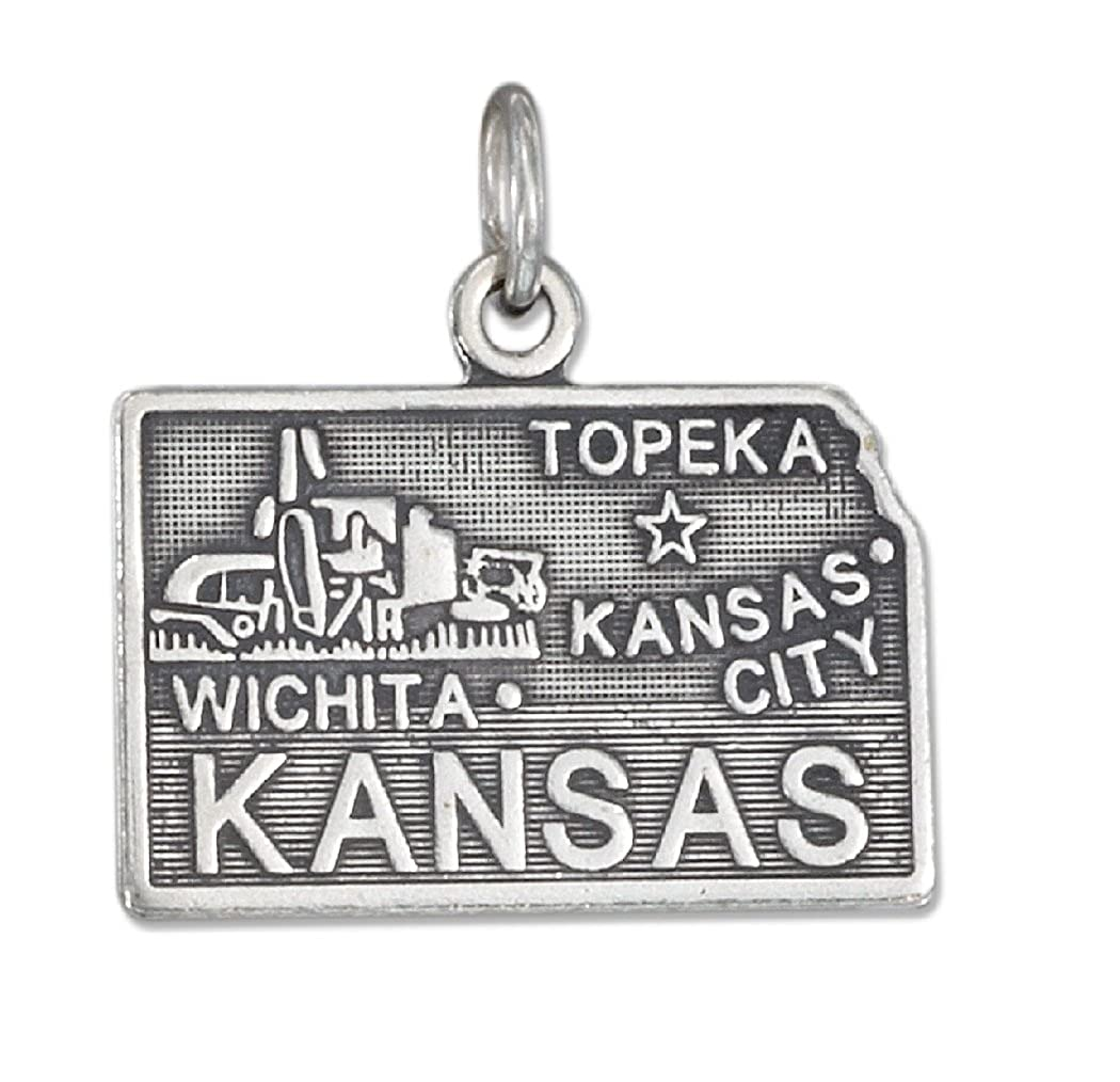 Sterling Silver Womens 1mm Box Chain KANSAS State Pendant Necklace