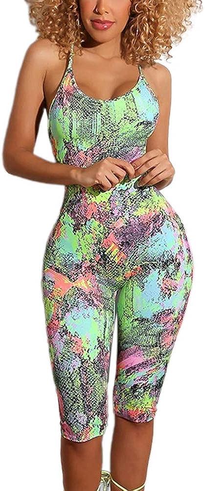 Women Sexy Bodysuit Spaghetti Strap Tie Dye Print Long Jumpsuit & Short Romper Party Clubwear