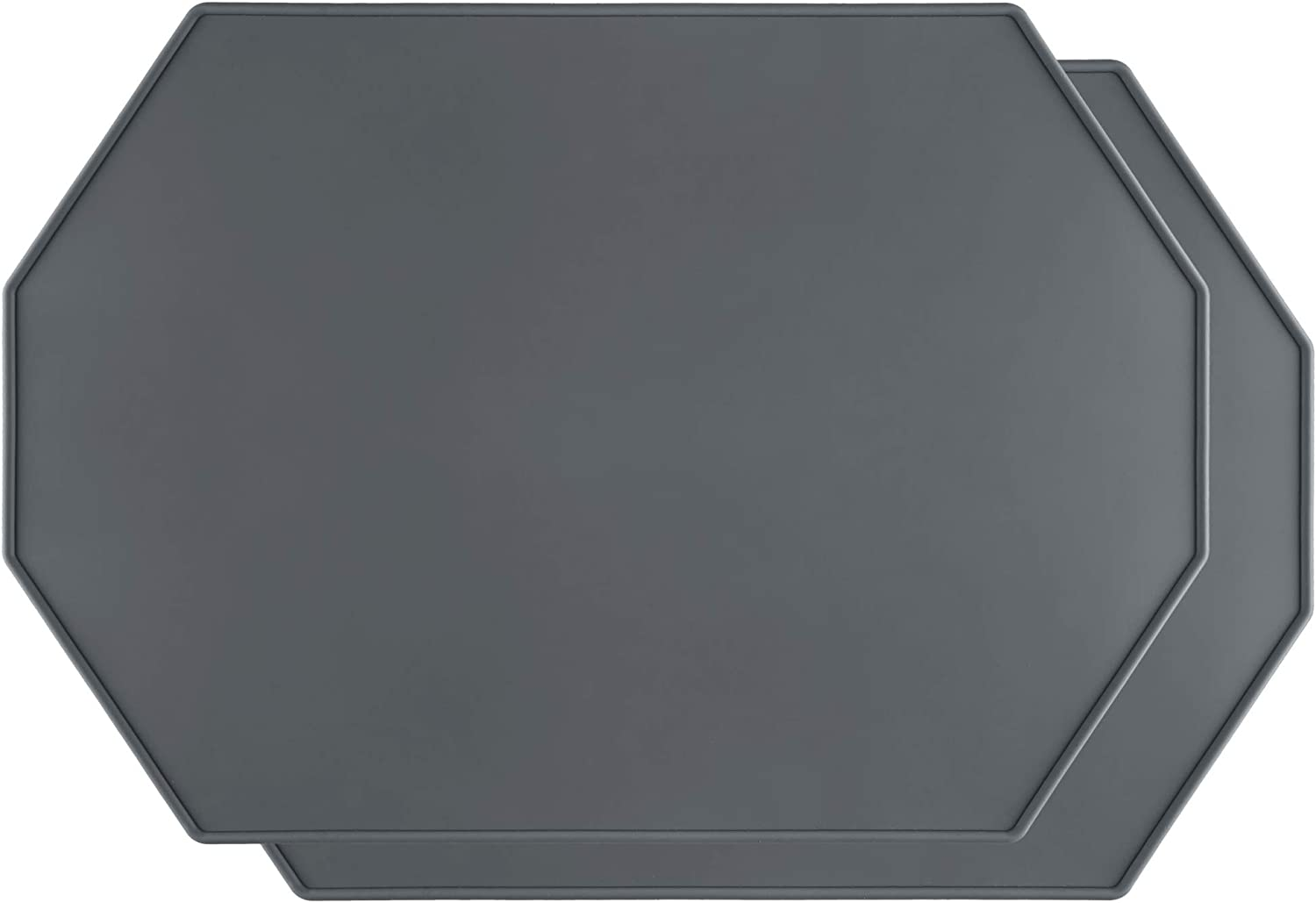 Lazy K Silicone Placemats - Octagon with Raised Edges - Non Slip Waterproof - Simple Modern Design - Heat-Resistant Kitchen Table Mats - Grey (Set of 2)