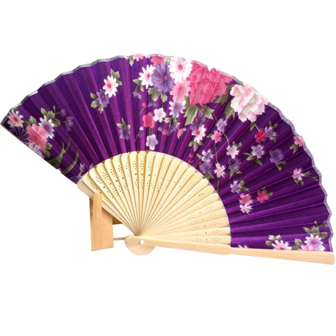 Binmer(TM) Japanese Cherry Blossom Folding Hand Dancing Wedding Party Decor Fan Chinese Fans (Purple)