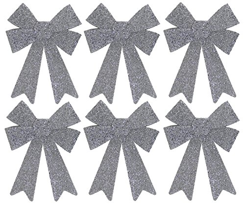 Iconikal Luxury No-Mess Glitter Christmas Bow 9 x 12-inches, 6 Pack - Silver