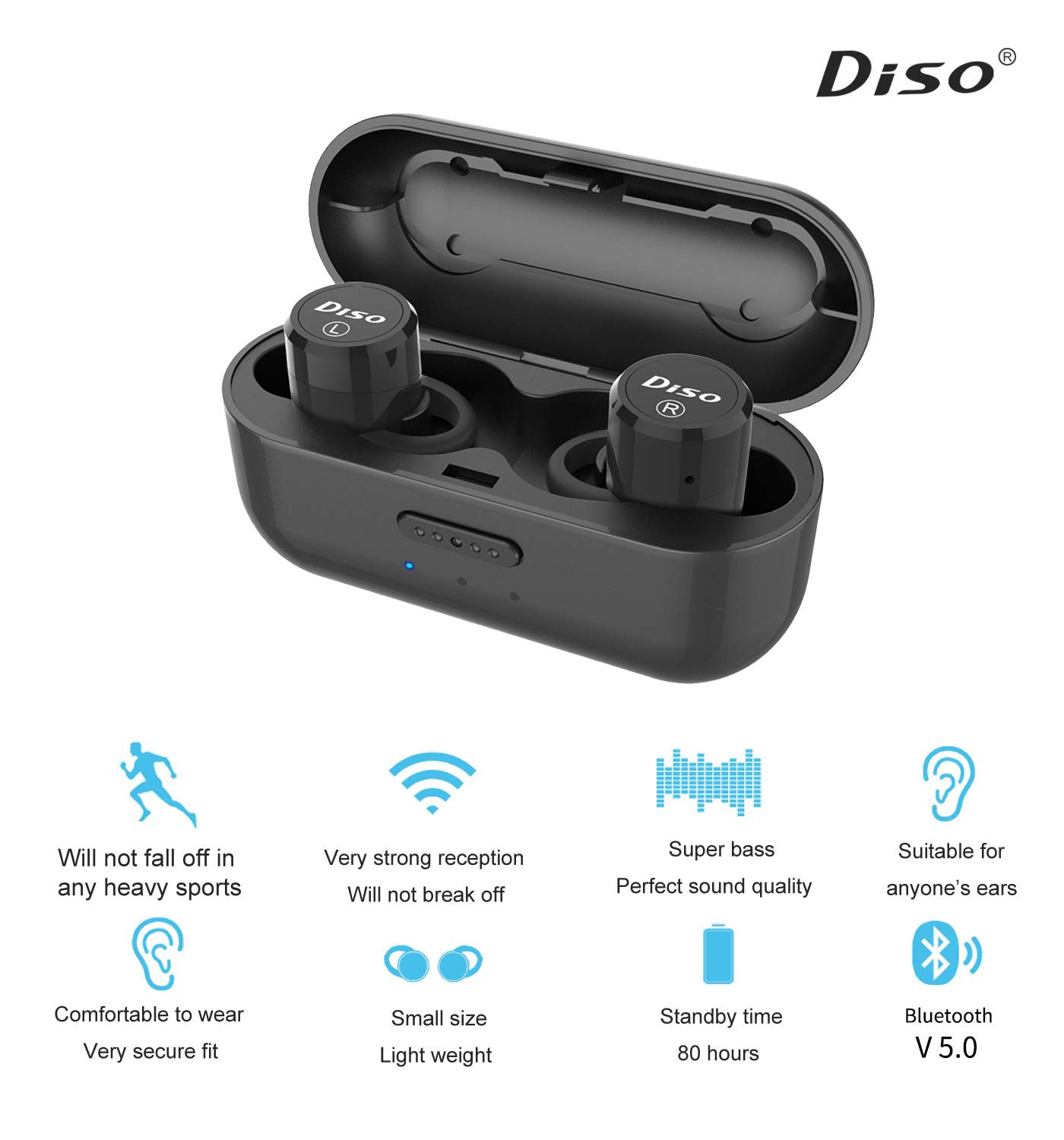 True Wireless Earbuds Mini Wireless Bluetooth Headphones with IPX5 Waterproof Charging Case Built-in Microphone Easy-Pair Deep Bass for Running Sport and Bluetooth V5.0
