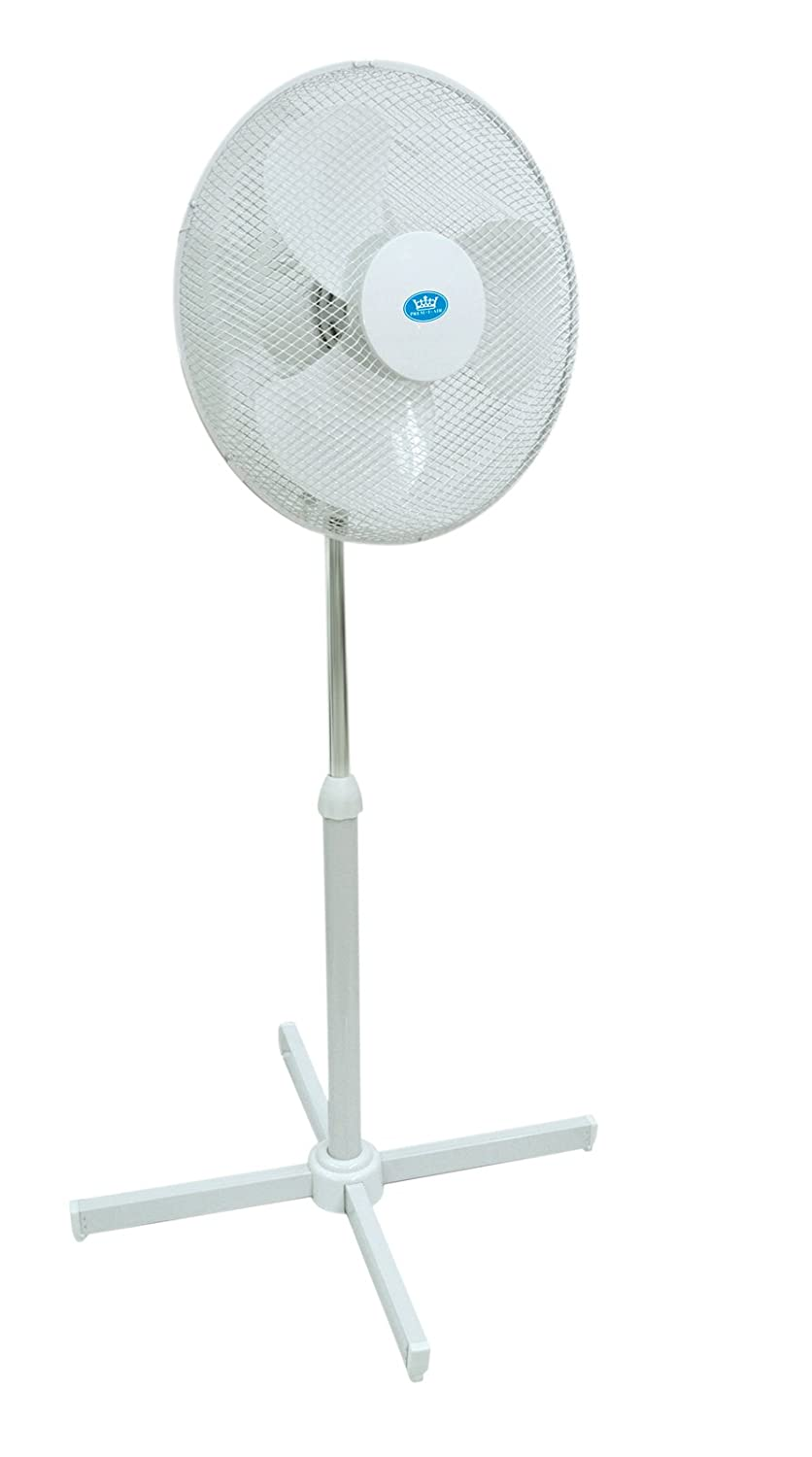 2x White 16 inch Oscillating Pedestal (Stand) Fan
