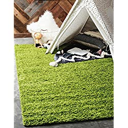Unique Loom Solo Solid Shag Collection Modern Plush Grass Green Rectangle (5' x 8')