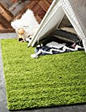 Unique Loom Solo Solid Shag Collection Modern Plush Grass Green Area Rug (3' x 5')