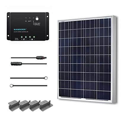 Renogy 100 Watts 12 Volts Polycrystalline Solar Starter Kit w/ 100w solar  panel,30A Charge Controller, 8ft 10AWG Tray Cables,Solar Adaptor Kit