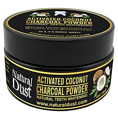 Natural Teeth Whitening Charcoal Powder by Natural Dust – 100% Organic Coconut Activated Charcoal. No need for Strips Kits, Gel or Teeth whitening toothpaste