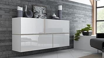 Küchen hängeschrank weiß hochglanz  Hängekommode Goya, Sideboard, Hängeschrank, Weiß Hochglanz: Amazon ...