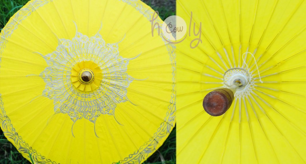 Hand Painted Yellow Cotton Waterproof Umbrella