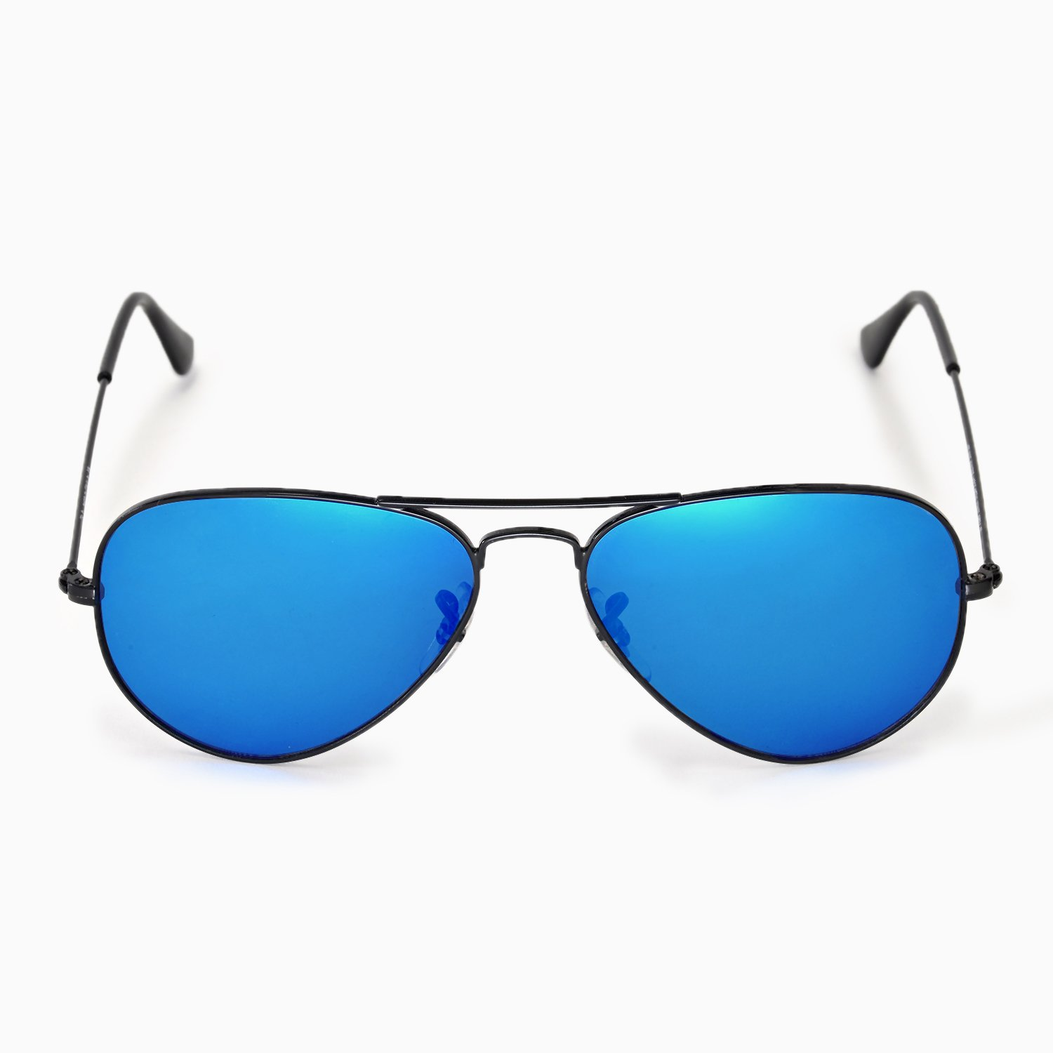 a87805870b Amazon.com  Walleva Polarized Fire Red+Ice Blue Lenses For Ray-Ban Aviator  Large Metal 55mm  Clothing