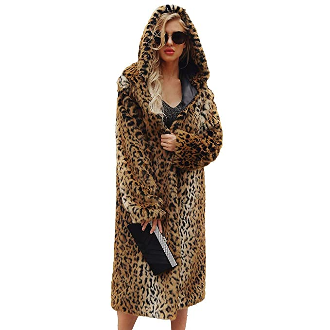 Abrigo de Piel sintética Leopardo Chaqueta de Invierno ...