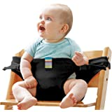 The Washable Portable Travel High Chair Booster Baby Seat with straps Toddler Safety Harness Baby feeding the strap (Black) #81086