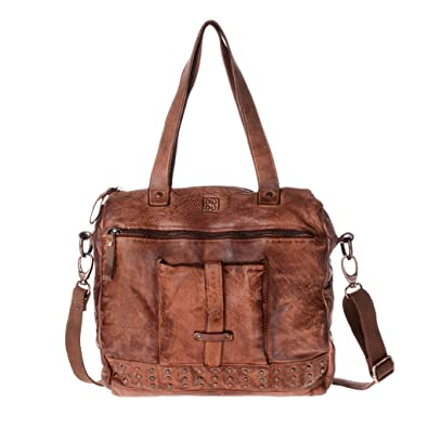Washed leather bag with shoulder strap handles and studs DUDU - 580-1078  Timeless ~ 2d82490cb6f93