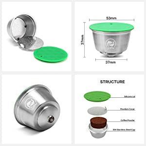 i Cafilas Stainless Steel Refillable Dolce Gusto Coffee Capsules Crema Reusable Coffee Pods Metal Permanent Coffee Holder Compatible for Nescafe Dolce Gusto (Color: Silver)