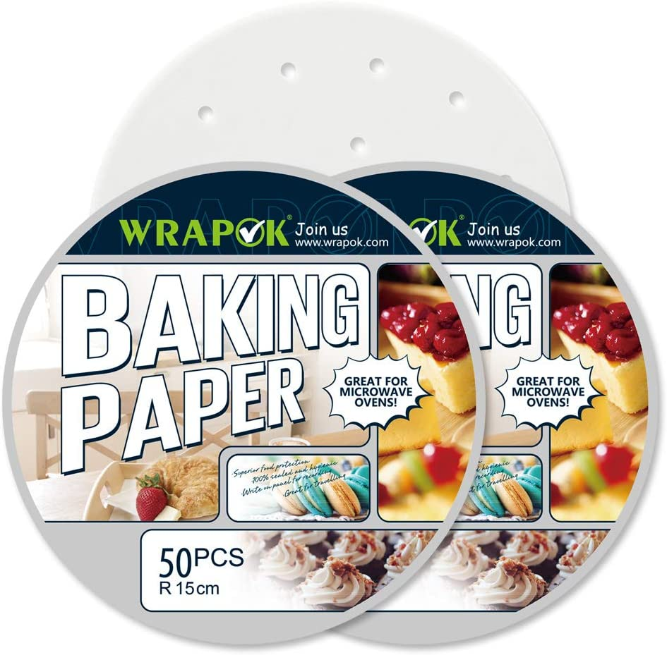 WRAPOK Air Fryer Liner 6 inch Round Perforated Parchment Bamboo Steamer Paper 100 Count Non-stick for Baking Steaming Basket Cooking Cake Pans Circle