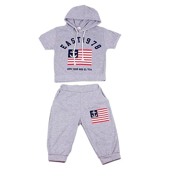 5407c6ca8d6d8 Aijoo 💕子供服 男の子 トップスパンツ 丸首 半袖tシャツ パンツ ベビー服 赤ちゃん服 ボーイズ