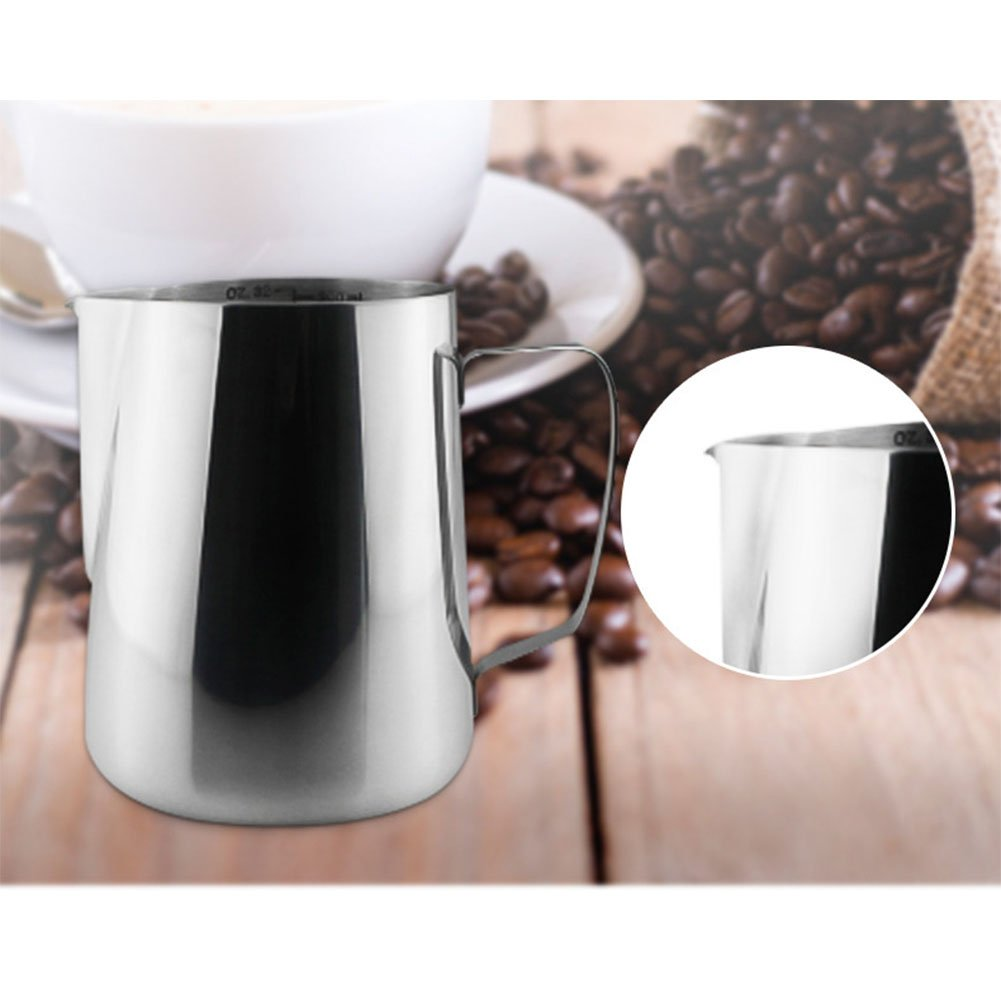 Zehui Stainless Steel Garland Cup with Scale Coffee Milk Frother and Latte Maker 600ML