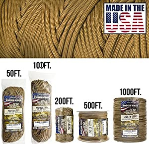 TOUGH-GRID 750lb Grizzly (Coyote) Brown Paracord/Parachute Cord - Genuine Mil Spec Type IV 750lb Paracord Used by the US Military (MIl-C-5040-H) - 100% Nylon - Made In The USA. 50Ft. - Grizzly Brown