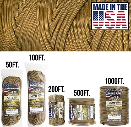 TOUGH-GRID 750lb Grizzly (Coyote) Brown Paracord/Parachute Cord - Genuine Mil Spec Type IV 750lb Paracord Used by The US Military (MIl-C-5040-H) - 100% Nylon - Made in The USA. 200Ft - Grizzly Brown