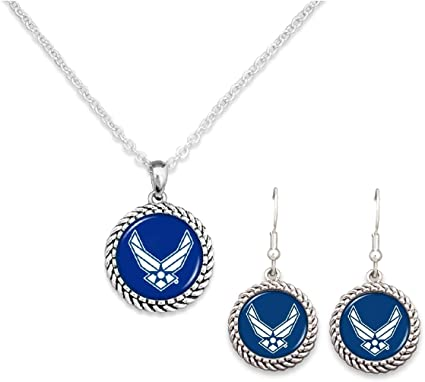U.S Air Force Silver Tone Double Charm Necklace with Round Logo and Air Force Nameplate Charms