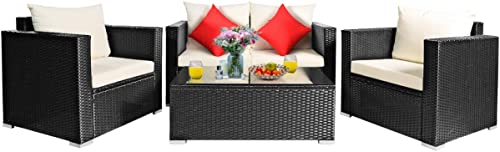 Tangkula 4 Piece Patio Rattan Conversation Furniture Set