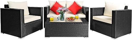 Tangkula 4 Piece Patio Rattan Conversation Furniture Set
