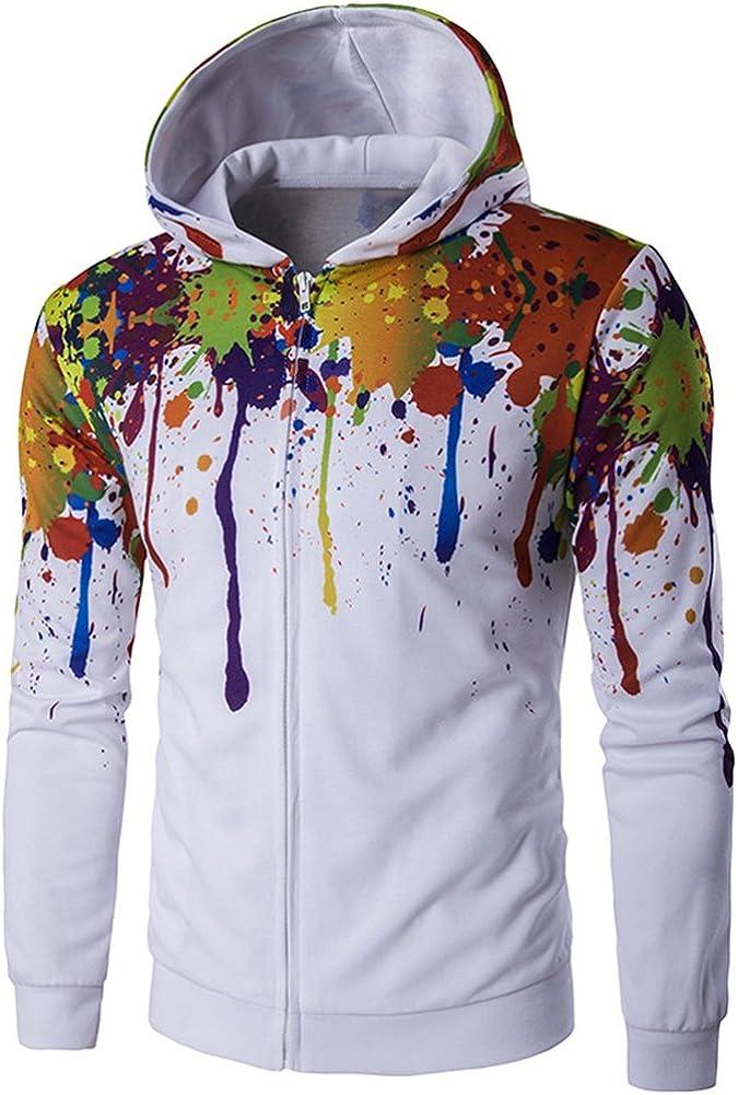 diffstyle Fashion Men Casual Hip Hop 3D Printed Front Zip Slim Fitness Hoodies Sweatshirts