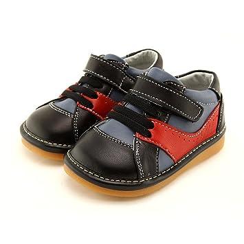 5357f467ce69f Cuir chaussures bébé sifflantes encouragent premiers pas - Garcon- Noir- Taille  23