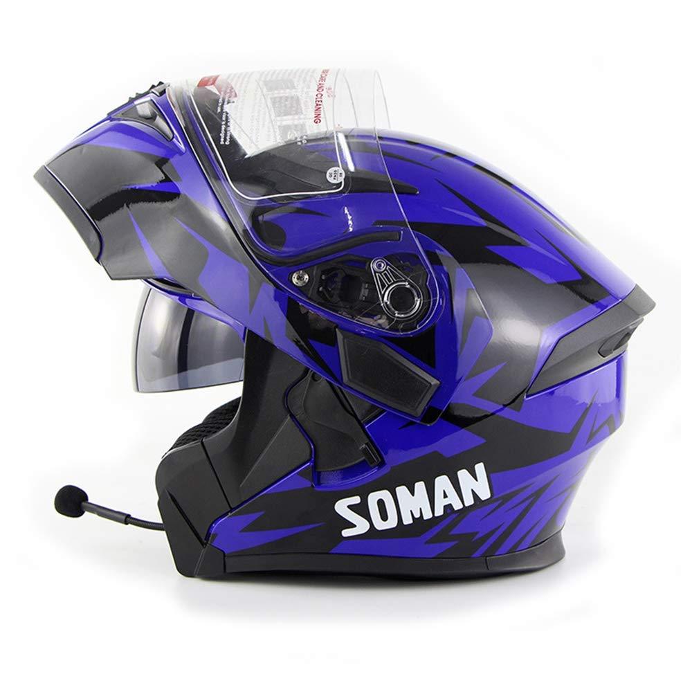 Shfmx Casque de Moto Bluetooth Adulte Casque de Moto d/évoil/é avec Anti-Brouillard lentille Casque de Voyage Bluetooth Flip modulaire,M