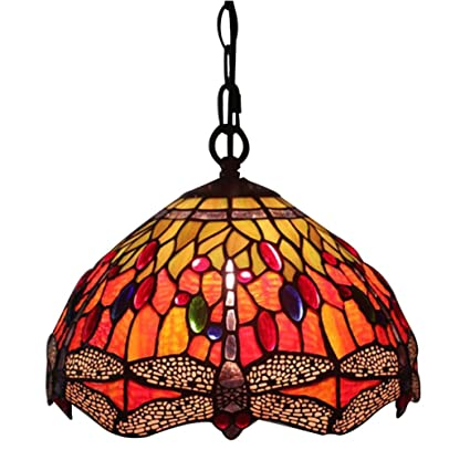 Stained Glass Hanging Lamp.Amazon Com Chuanhan Tiffany Style Chandelier Pendant Lamp