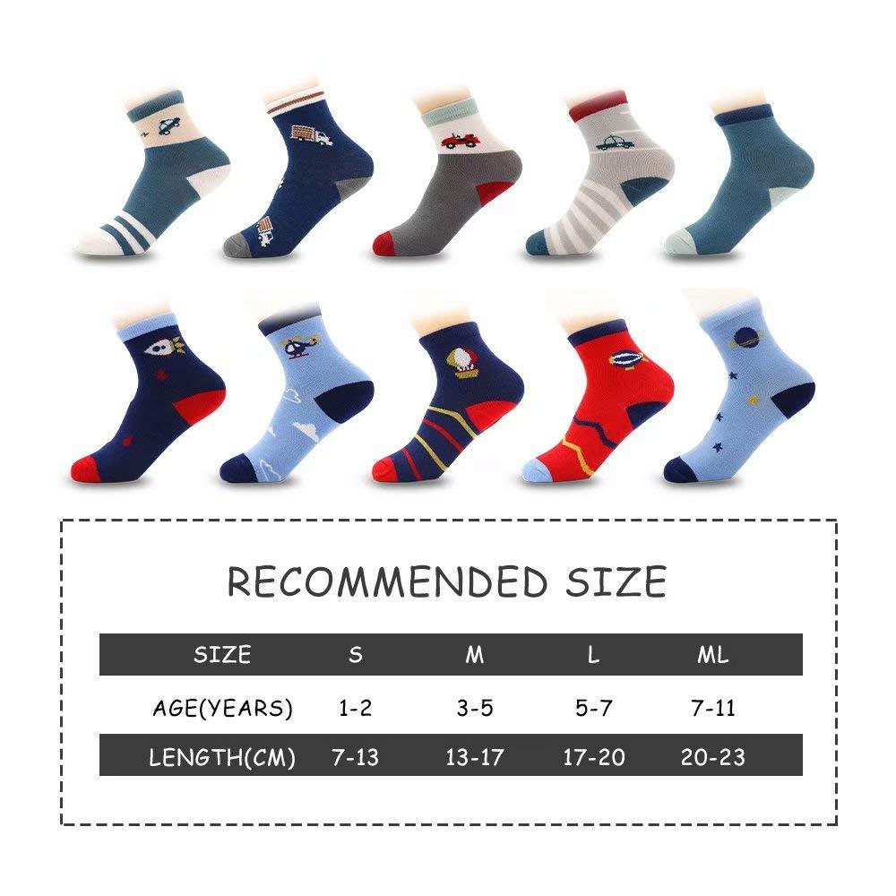 10 Pairs Boys Socks Toddler Fashion Cotton Crew Socks for Kids