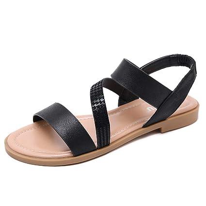 b31c915447aca Amazon.com: Women Gladiator Sandals Leather Strap Flat Sandals Slip ...