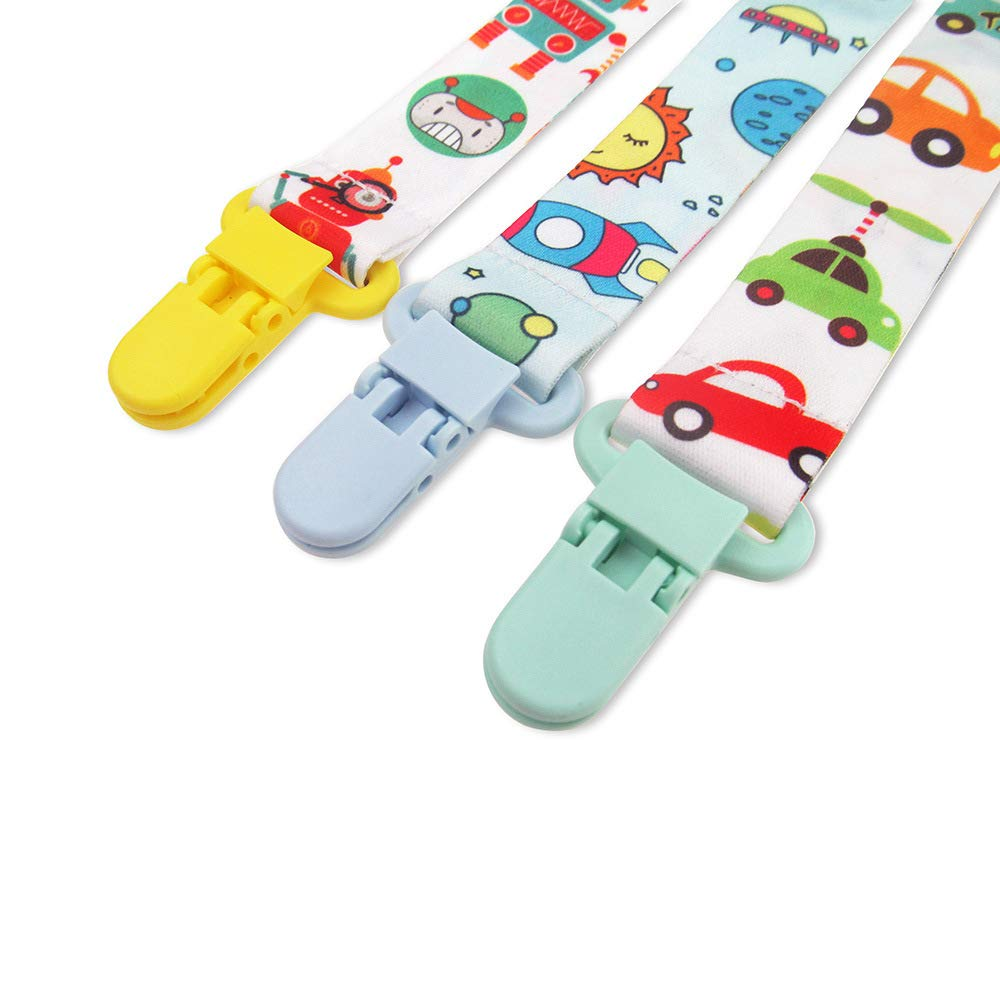 3 Cutebility Dummy Clips Baby Pacifier Clips 3 Pack Pacifier Holder Straps for Girls Plastic Teething Clips Modern Unisex Design