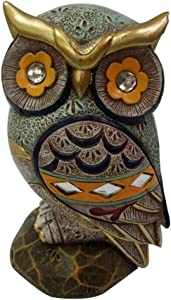 Owl Statue Home Decor Colorful Collectible Figurine Statue Good Luck (6.5 Inches)
